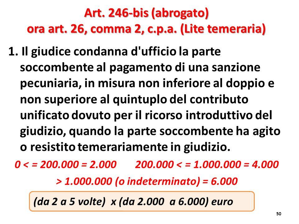 Art. 246-bis (abrogato) ora art. 26, comma 2, c.p.a. (Lite temeraria)