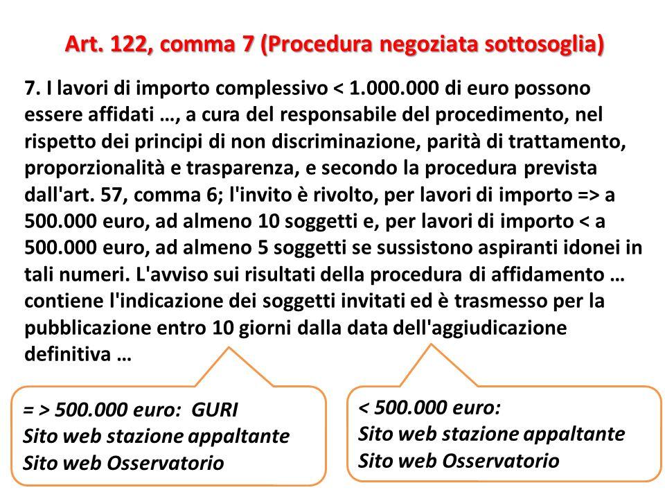 Art. 122, comma 7 (Procedura negoziata sottosoglia)