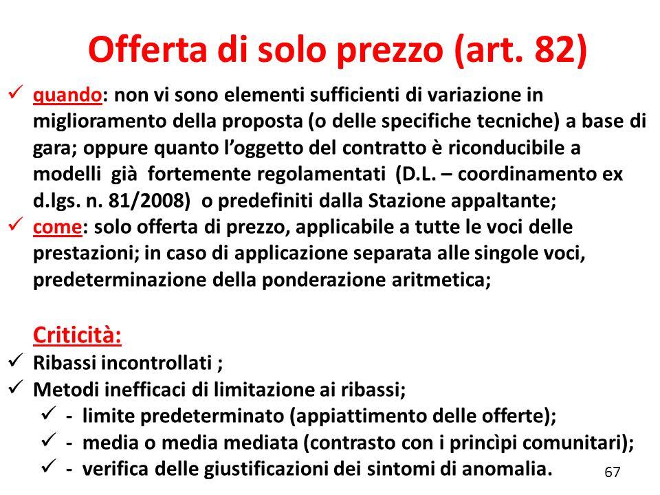 Offerta di solo prezzo (art. 82)