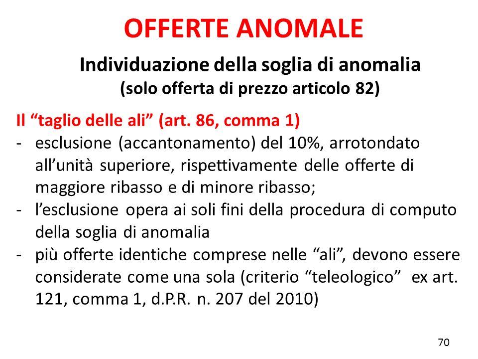 OFFERTE ANOMALE Individuazione della soglia di anomalia