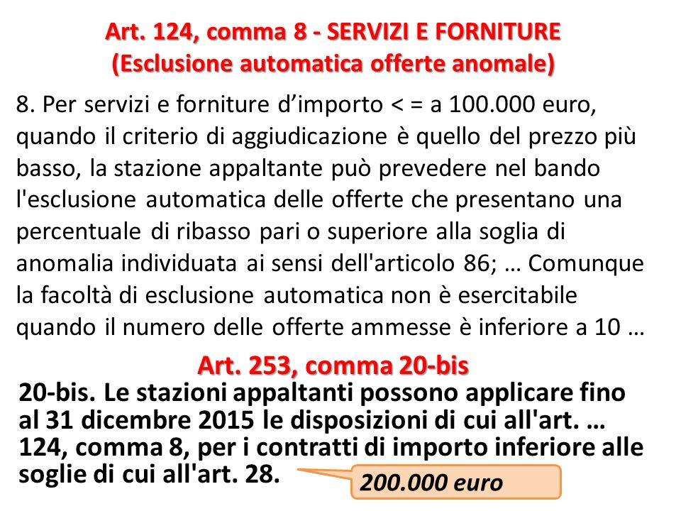 Art. 124, comma 8 - SERVIZI E FORNITURE