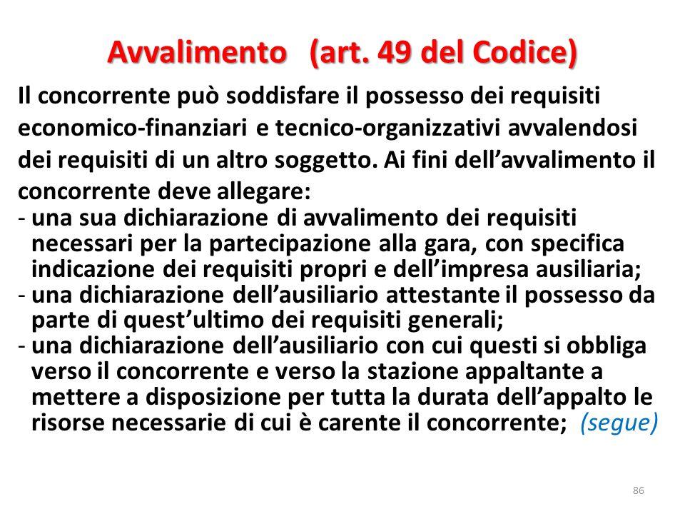 Avvalimento (art. 49 del Codice)