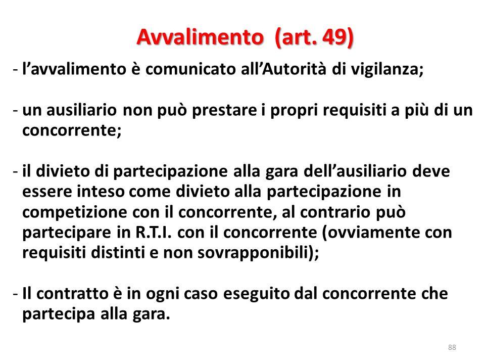 Avvalimento (art. 49) l'avvalimento è comunicato all'Autorità di vigilanza;