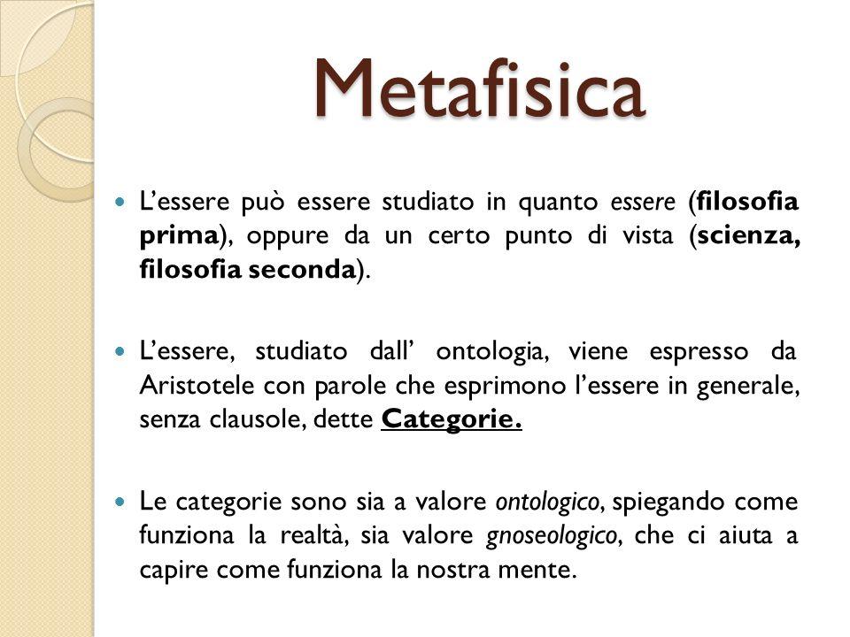 Metafisica L'essere può essere studiato in quanto essere (filosofia prima), oppure da un certo punto di vista (scienza, filosofia seconda).