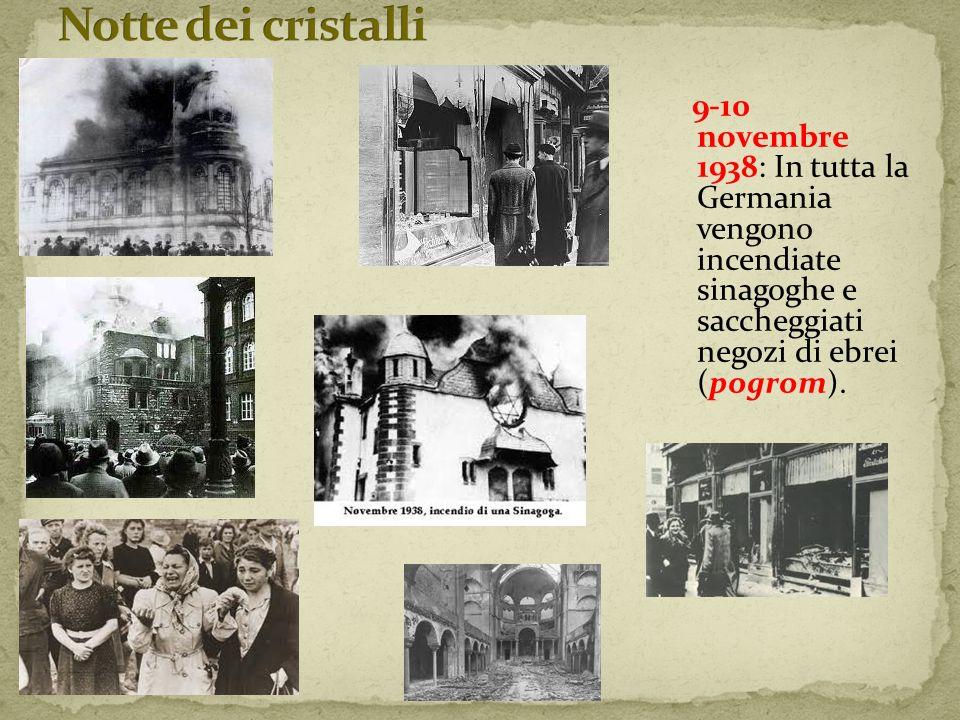 Notte dei cristalli 9-10 novembre 1938: In tutta la Germania vengono incendiate sinagoghe e saccheggiati negozi di ebrei (pogrom).