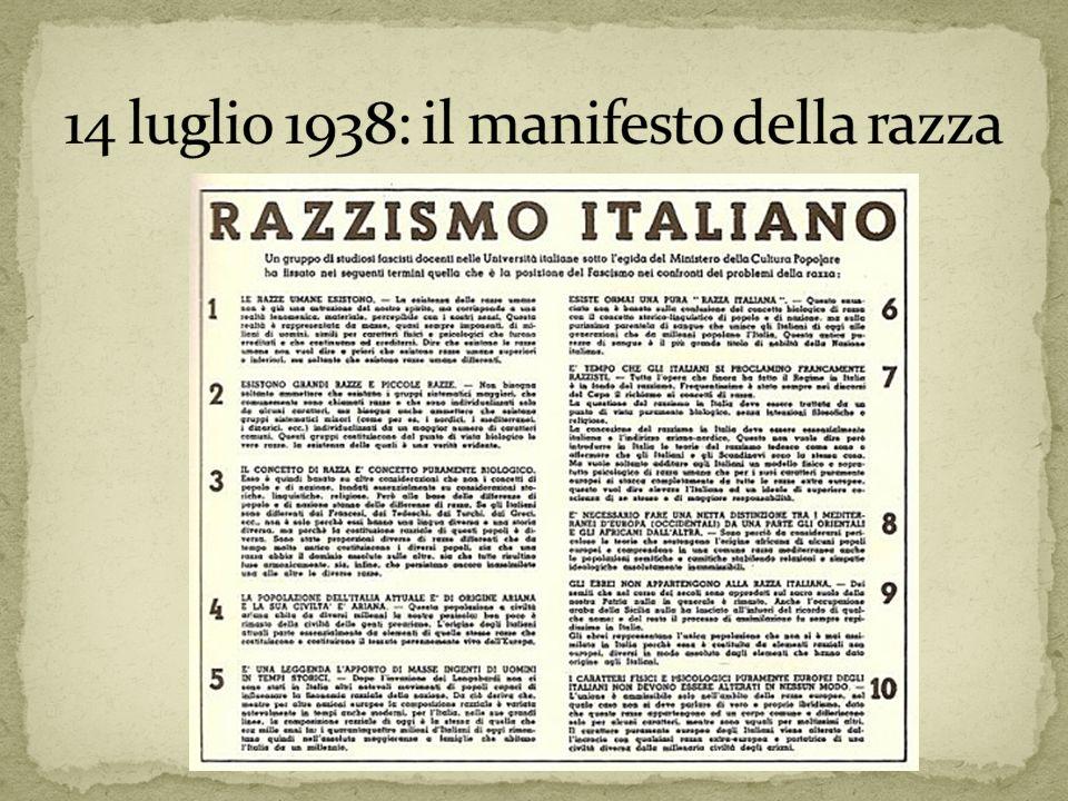 14 luglio 1938: il manifesto della razza