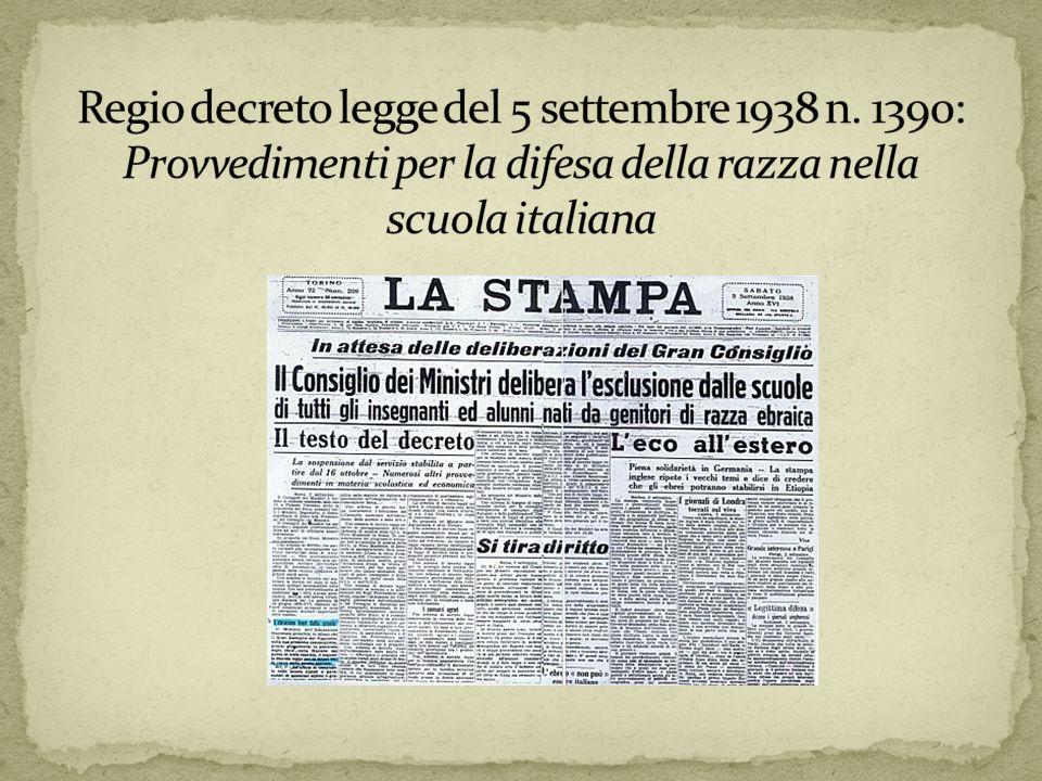 Regio decreto legge del 5 settembre 1938 n