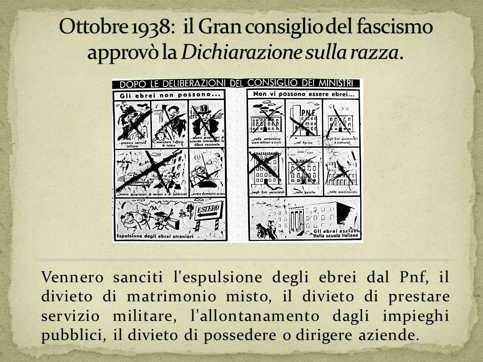 Ottobre 1938: il Gran consiglio del fascismo approvò la Dichiarazione sulla razza.