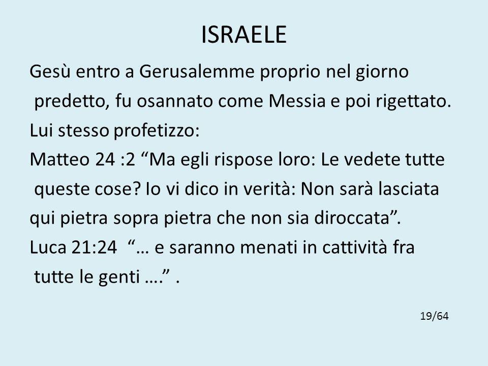 ISRAELE Gesù entro a Gerusalemme proprio nel giorno