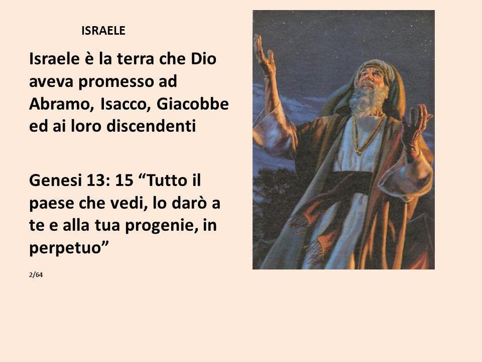 ISRAELE Israele è la terra che Dio aveva promesso ad Abramo, Isacco, Giacobbe ed ai loro discendenti.