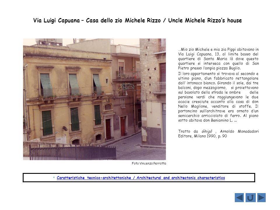 Via Luigi Capuana – Casa dello zio Michele Rizzo / Uncle Michele Rizzo's house