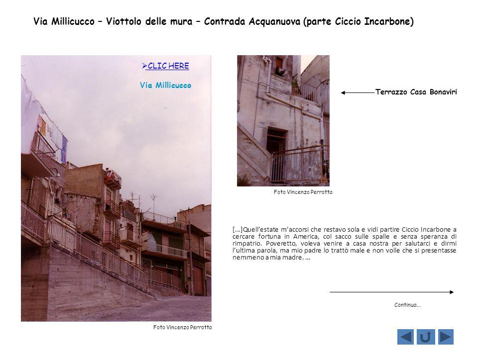 Via Millicucco – Viottolo delle mura – Contrada Acquanuova (parte Ciccio Incarbone)