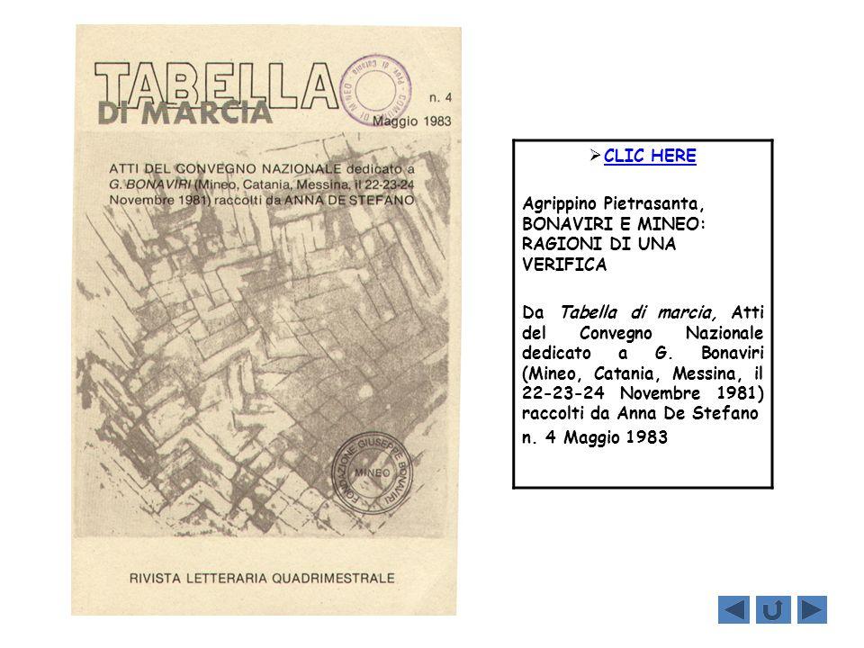 CLIC HERE Agrippino Pietrasanta, BONAVIRI E MINEO: RAGIONI DI UNA VERIFICA.