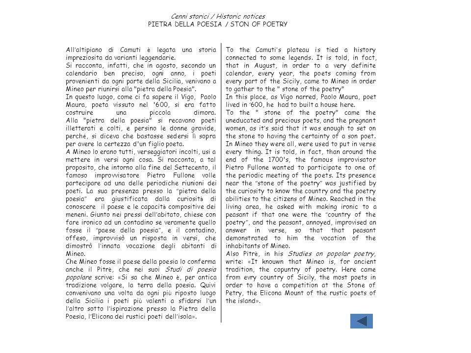 Cenni storici / Historic notices PIETRA DELLA POESIA / STON OF POETRY