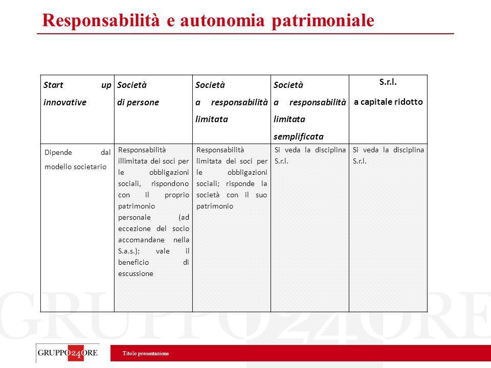 Responsabilità e autonomia patrimoniale