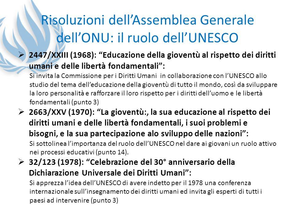 Risoluzioni dell'Assemblea Generale dell'ONU: il ruolo dell'UNESCO