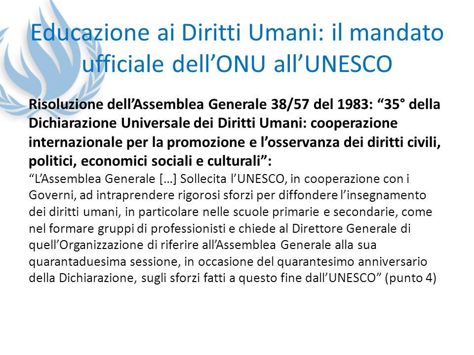 Educazione ai Diritti Umani: il mandato ufficiale dell'ONU all'UNESCO