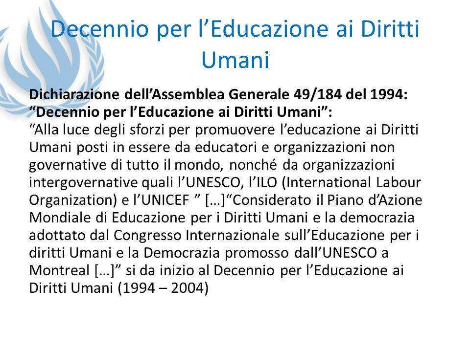 Decennio per l'Educazione ai Diritti Umani