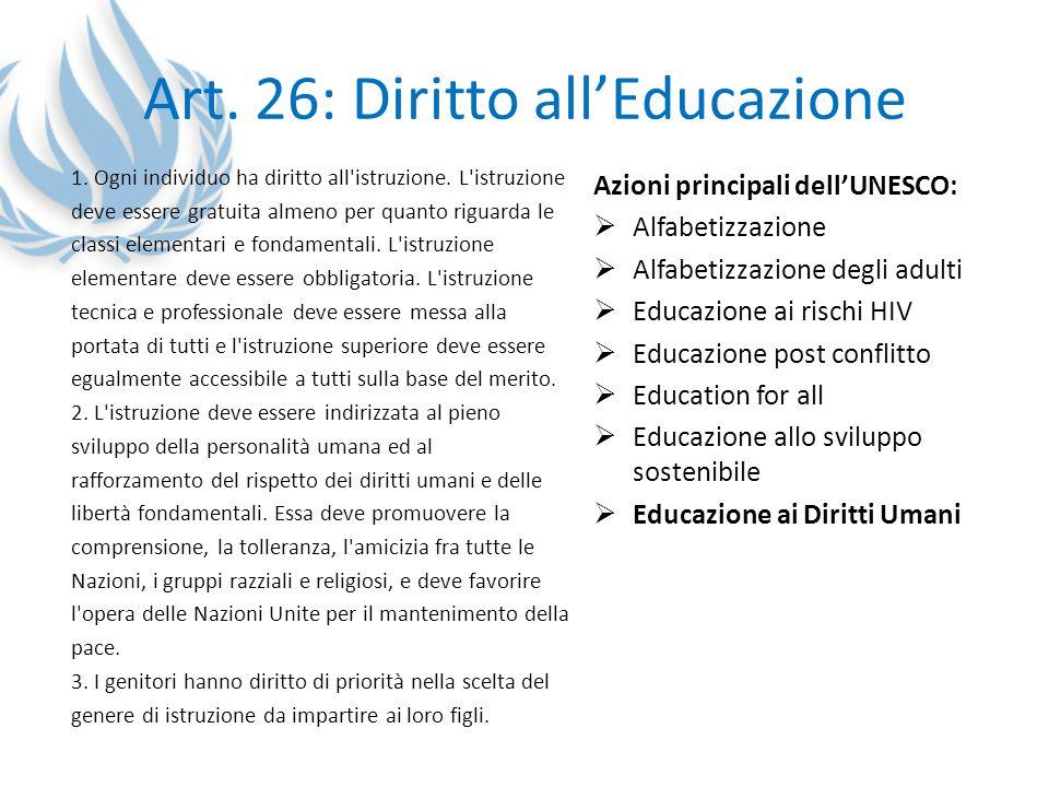 Art. 26: Diritto all'Educazione