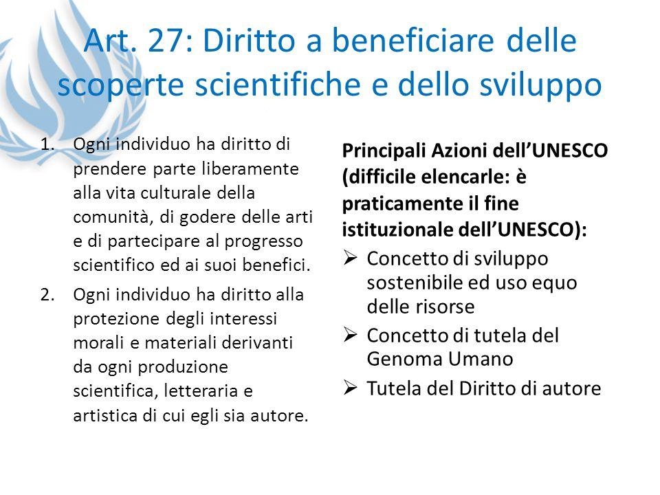 Art. 27: Diritto a beneficiare delle scoperte scientifiche e dello sviluppo