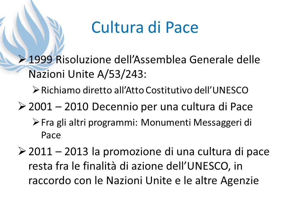 Cultura di Pace 1999 Risoluzione dell'Assemblea Generale delle Nazioni Unite A/53/243: Richiamo diretto all'Atto Costitutivo dell'UNESCO.