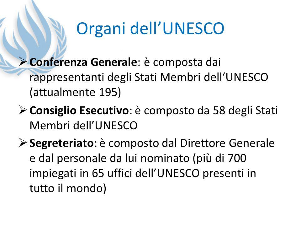 Organi dell'UNESCO Conferenza Generale: è composta dai rappresentanti degli Stati Membri dell'UNESCO (attualmente 195)