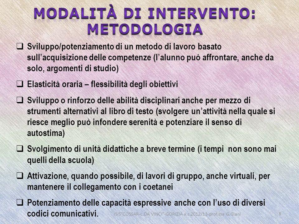 Modalità di intervento: metodologia