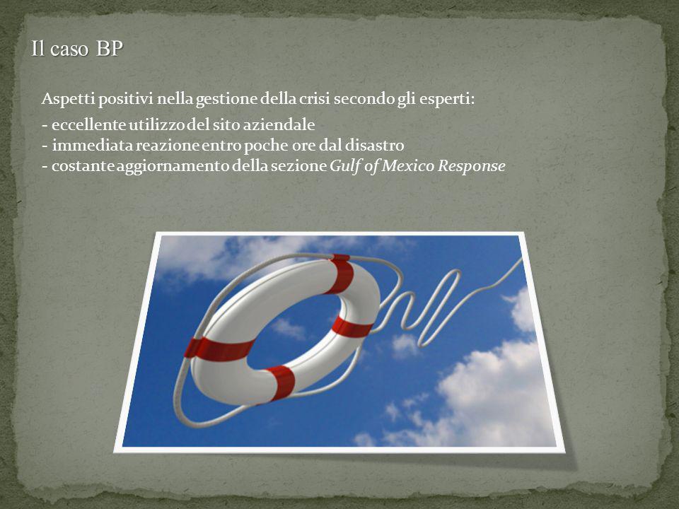 Il caso BP Aspetti positivi nella gestione della crisi secondo gli esperti: eccellente utilizzo del sito aziendale.