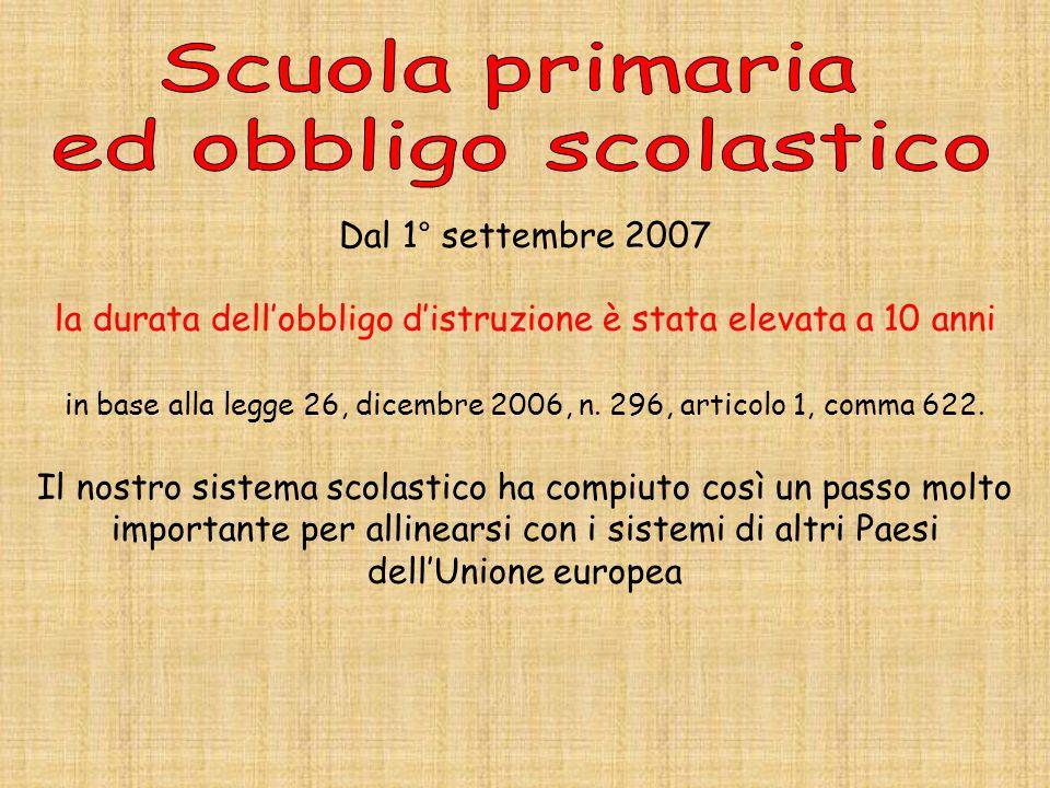 Scuola primaria ed obbligo scolastico Dal 1° settembre 2007