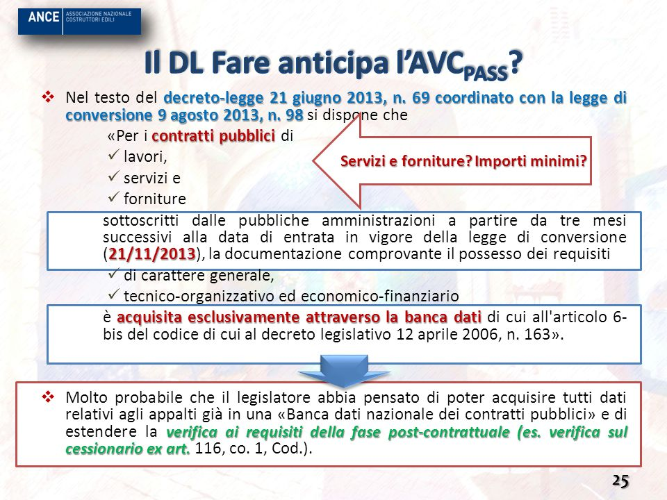 Il DL Fare anticipa l'AVCPASS
