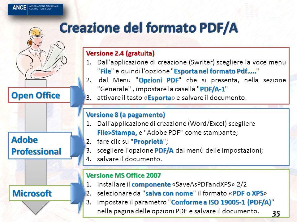 Creazione del formato PDF/A