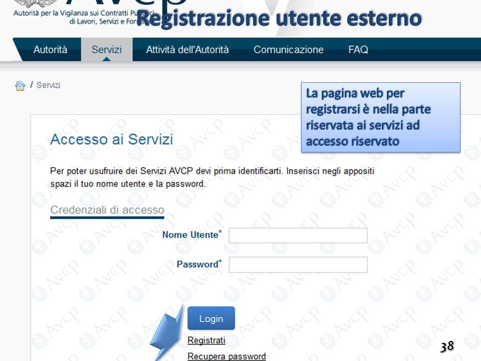 Registrazione utente esterno
