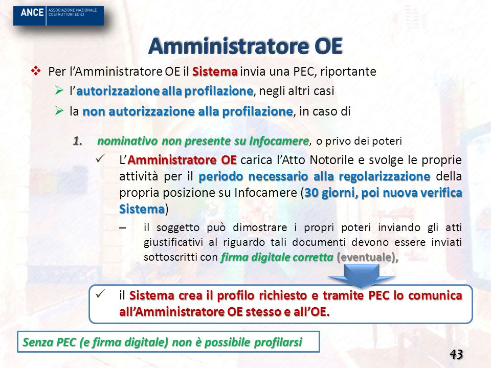 Amministratore OE Per l'Amministratore OE il Sistema invia una PEC, riportante. l'autorizzazione alla profilazione, negli altri casi.