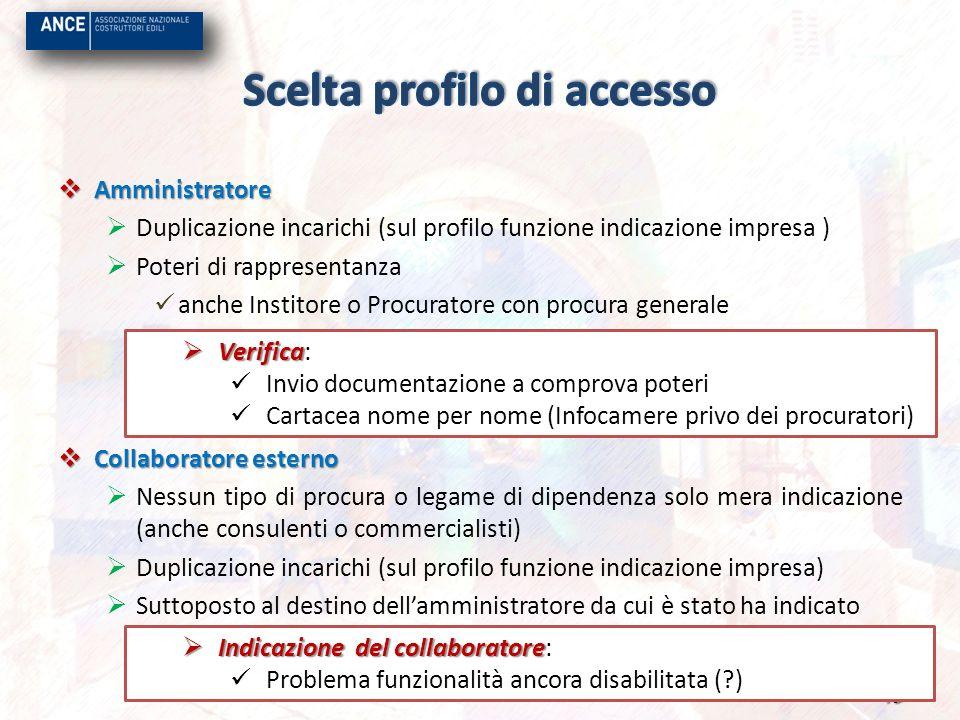 Scelta profilo di accesso