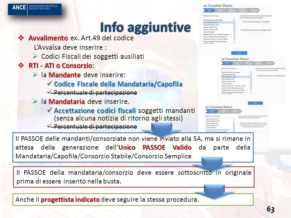 Info aggiuntive Avvalimento ex. Art.49 del codice