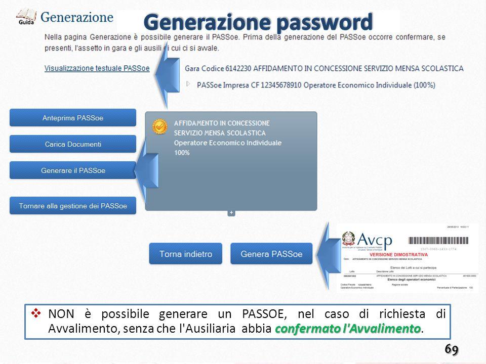 Generazione password Anteprima PASSOE : permette di visualizzare l'anteprima del PASSOE creato.