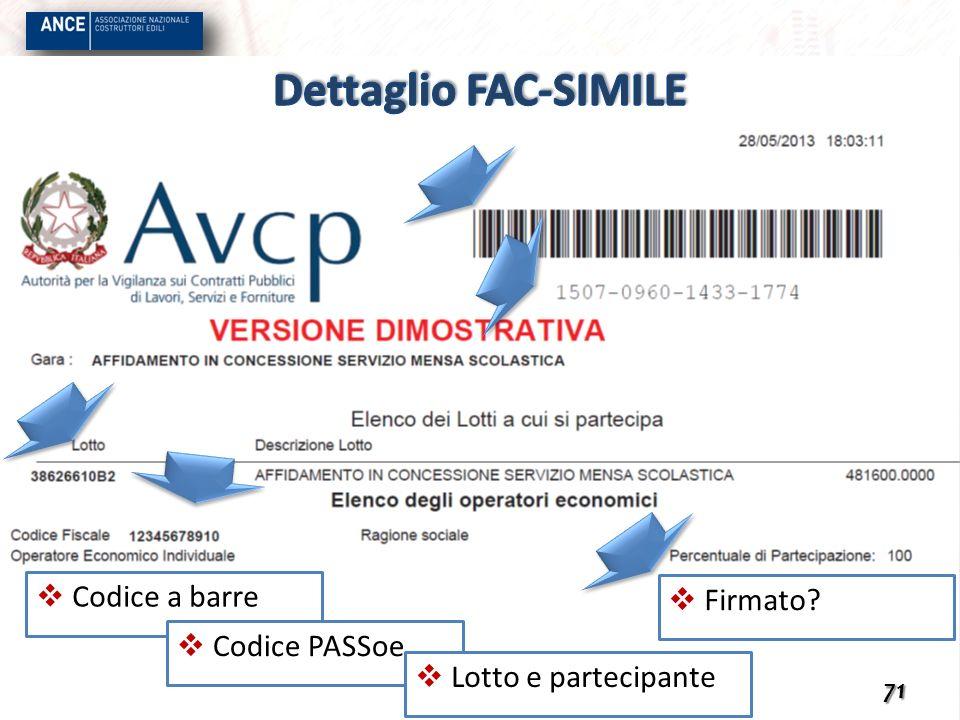 Dettaglio FAC-SIMILE Codice a barre Firmato Codice PASSoe