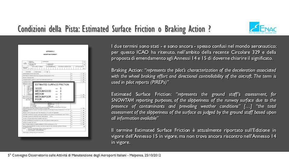 Condizioni della Pista: Estimated Surface Friction o Braking Action