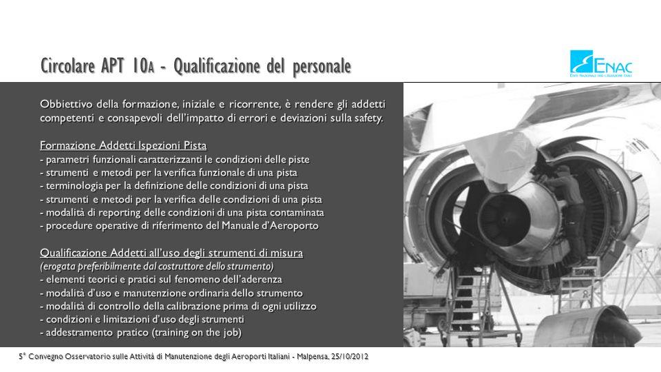 Circolare APT 10A - Qualificazione del personale