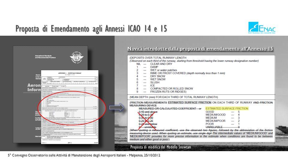 Proposta di Emendamento agli Annessi ICAO 14 e 15