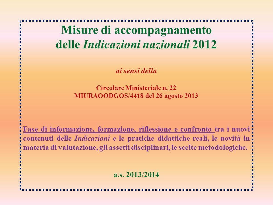 Misure di accompagnamento delle Indicazioni nazionali 2012