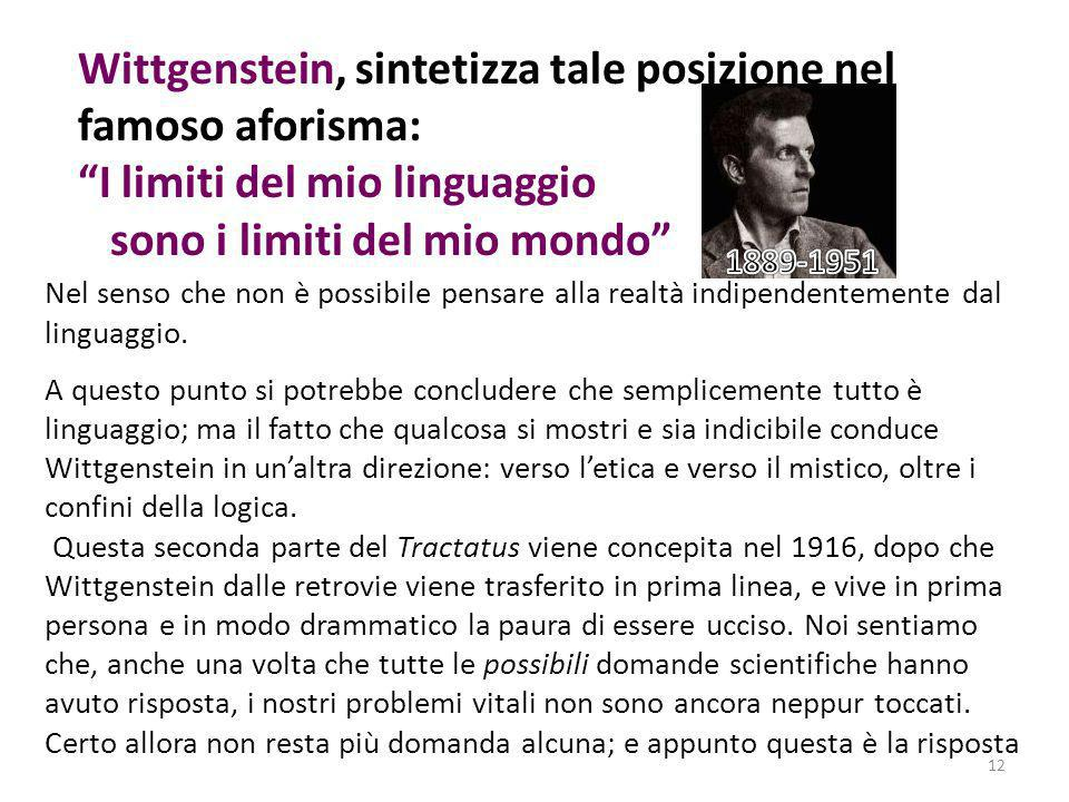 Wittgenstein, sintetizza tale posizione nel famoso aforisma:
