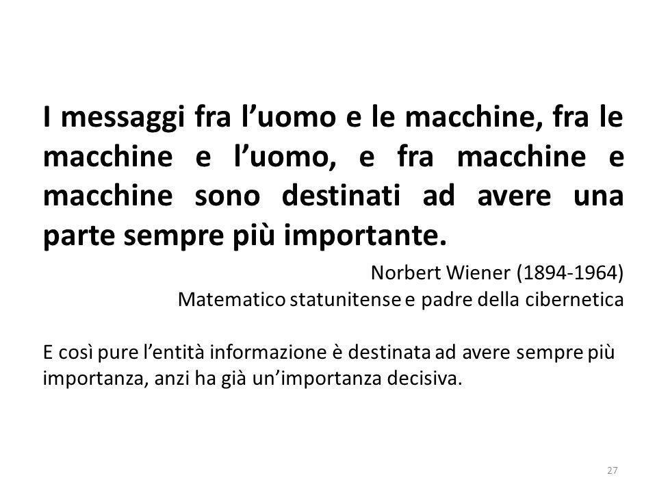 I messaggi fra l'uomo e le macchine, fra le macchine e l'uomo, e fra macchine e macchine sono destinati ad avere una parte sempre più importante.