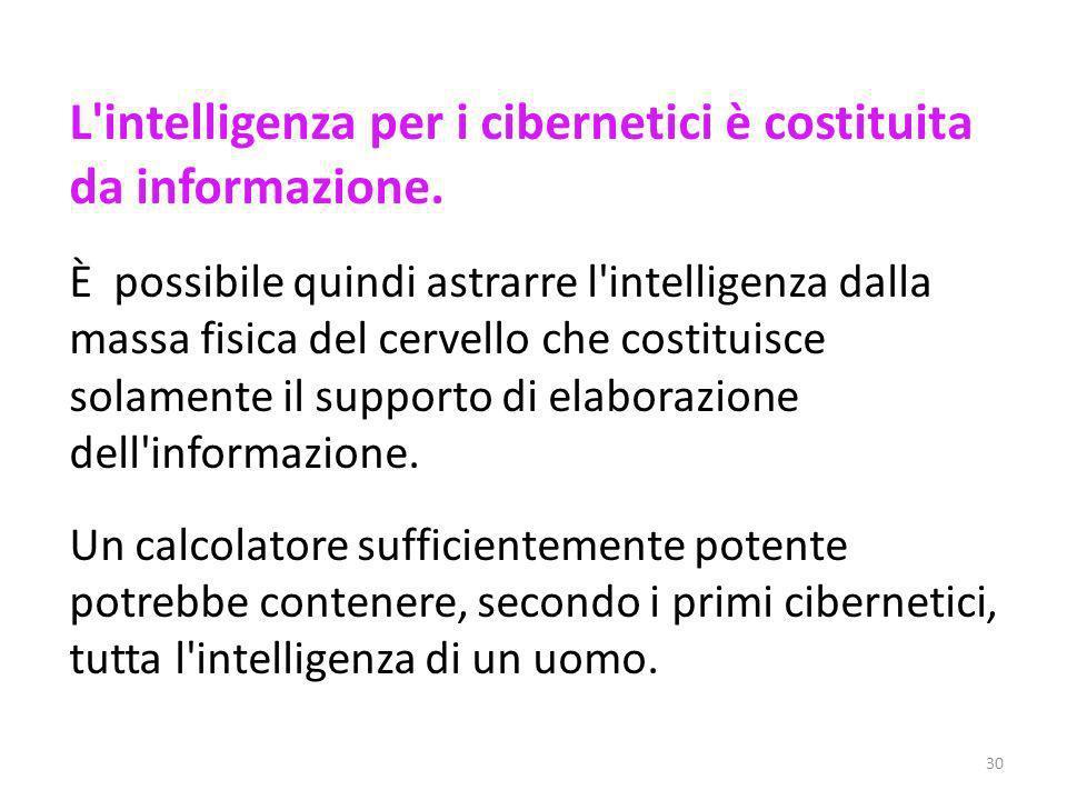 L intelligenza per i cibernetici è costituita da informazione.