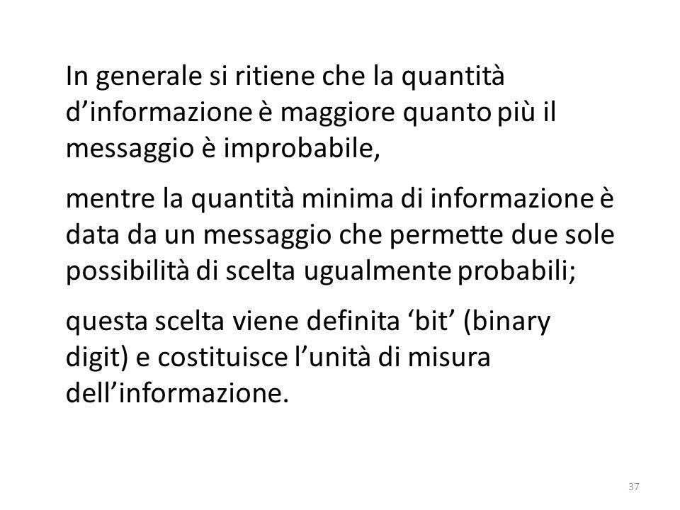 In generale si ritiene che la quantità d'informazione è maggiore quanto più il messaggio è improbabile,