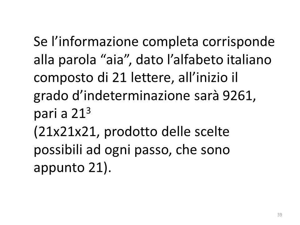 Se l'informazione completa corrisponde alla parola aia , dato l'alfabeto italiano composto di 21 lettere, all'inizio il grado d'indeterminazione sarà 9261,