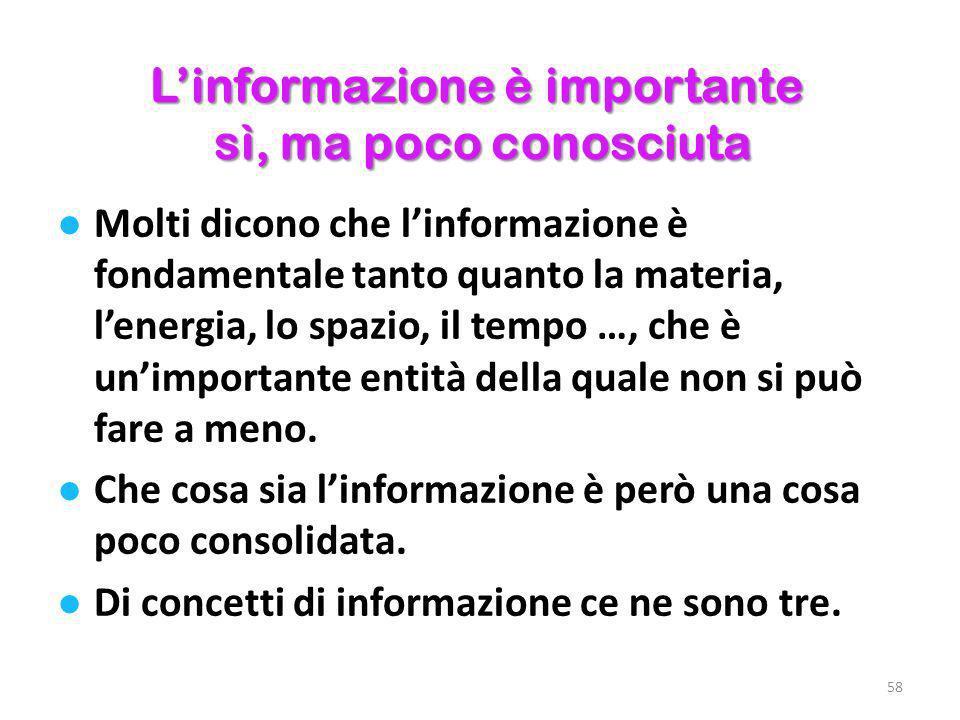 L'informazione è importante sì, ma poco conosciuta