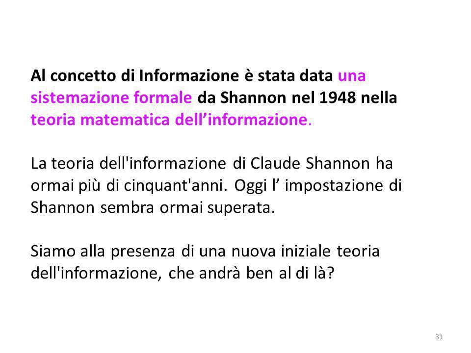 Al concetto di Informazione è stata data una sistemazione formale da Shannon nel 1948 nella teoria matematica dell'informazione.