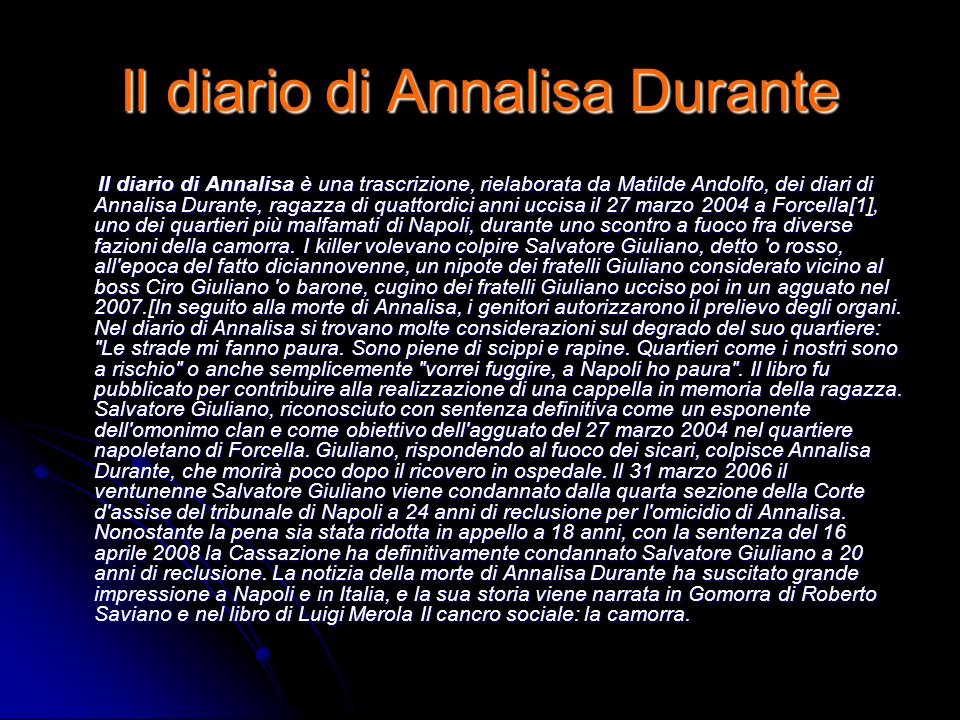 Il diario di Annalisa Durante