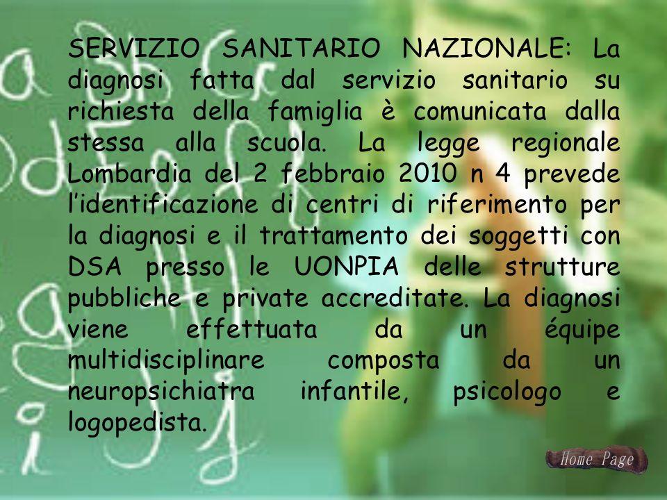 SERVIZIO SANITARIO NAZIONALE: La diagnosi fatta dal servizio sanitario su richiesta della famiglia è comunicata dalla stessa alla scuola.